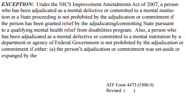 form 4473 mental illness  Purchasing a firearm after your gun rights have been ...